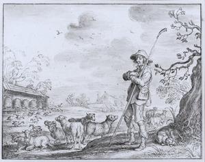Herder met schapen en ganzen bij bijenkorven