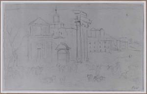 Forum Romanum met S. Maria Liberatrice en de drie zuilen van de tempel van Castor te Rome