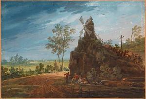 Landschap met een windmolen op een rots