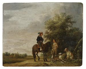 Landschap met een ruiter in gesprek met een man met twee honden