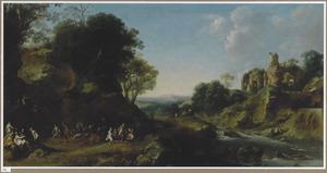 Arcadisch landschap met bacchanaal