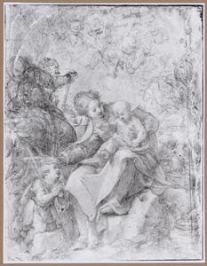 H. Familie met het kind Johannes de Doper en engelen met passiewerktuigen