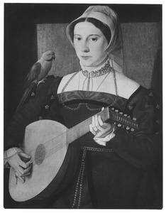 Portret van een vrouw met luit en papegaai