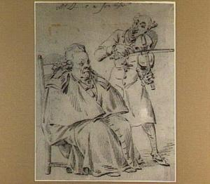 Zittende oude heer en violist