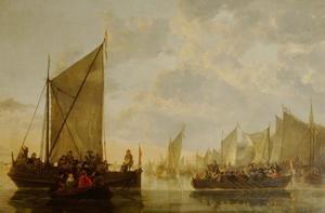 Aankomst van een gezelschap op de Maas in Dordrecht