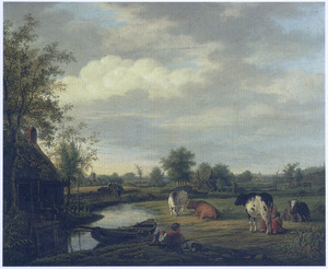 Landschap met koeien in een weiland langs een sloot