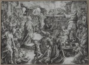 Asa en het offer van het volk van Juda, zich verheugend over hun eed aan God (2 Kronieken 15:14-15)