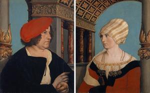 Dubbelportret van Jacob Meyer zum Hase, burgemeester van Basel, en zijn vrouw Dorothea Kannengiesser (binnenzijde); familiewapen Jacob Meyer (buitenzijde van mannenportret)
