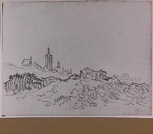 Den Haag vanuit de duinen gezien, met de toren van de Grote of Sint Jacobskerk