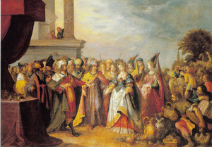 Salomo ontvangt de koningin van Seba (1 Koningen 10:2-3)