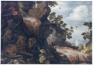 Landschap met leeuwen bij een waterval