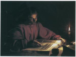 Johannes Evangelista het evangelie schrijvend