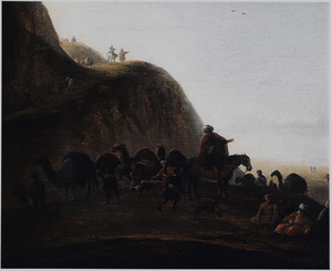 Berglandschap met oosterlingen op reis met dromedarissen