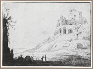 Zuidelijk landschap met ruïne op een heuvel