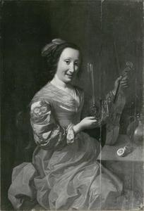 Portret van een vrouw met een viool