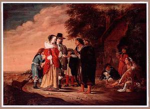 Een elegant echtpaar laat zich de hand lezen door een zigeunerin
