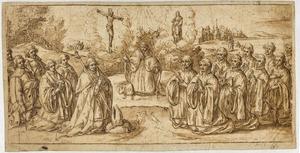 Heilige Augustinus met visioen van Christus en Maria, op de voorgrond knielende abt met monniken en links drie opdrachtgevers