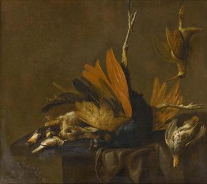 Stilleven met dode vogels en konijn