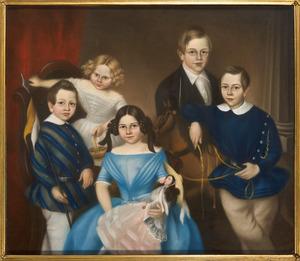 Portret van vijf kinderen van  Albert Carel Snouckaert van Schauburg en Johanna Catharina Adelaïde Schuyt