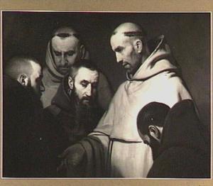 Vijf monniken in godsdienstige gedachtenwisseling