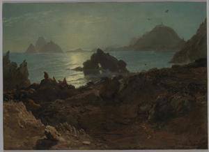 Landschap met een meer en in de achtergrond bergen bij zonsondergang