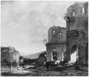Italianiserend berglandschap met herders en vee bij een ruïne