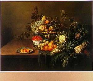 Stilleven met groente en fruit.