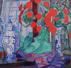 Kubistisch stilleven met Delftse vazen