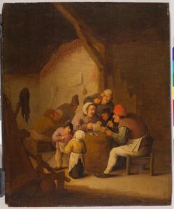 Rokende, drinkende en lezende boeren in een interieur