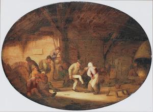 Boerengezelschap met dansend paar in een interieur