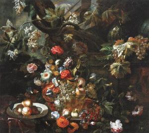 Stilleven met fruit in een glazen kom