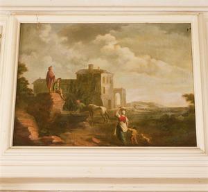Italianiserend landschap met figuren bij een landhuis