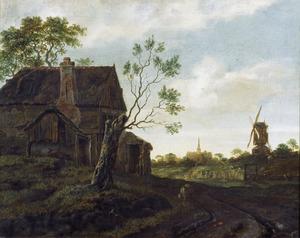 Landschap met boerderij en molen