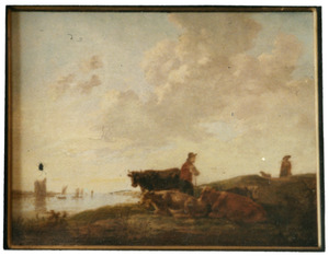 Rustend vee met herdersjongen aan de Merwede