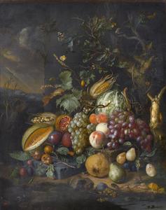 Vruchtenstilleven aan de voet van een eik, voor een stenen muur