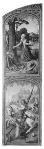 De boetvaardige  H. Hiëronymus (boven), De H. Joris verslaat de draak (onder)