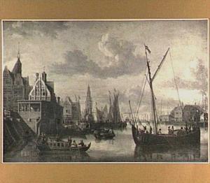 Gezicht op de Haringpakkerstoren te Amsterdam