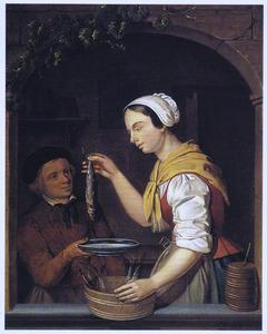 Vrouw met haringen en jongen met bord in een vensteropening
