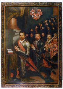 Groepsportret met  Hendrik van den Bergh (1573-1638), Jan van Brockhorst (....-1617) en een derde man