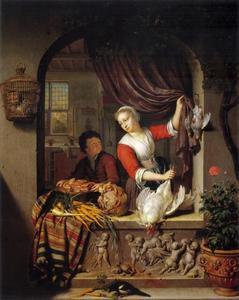 Jonge vrouw met dood gevogelte in een venster