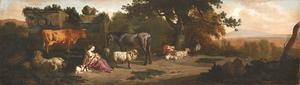 Zuidelijk landschap met een vrouw die een kind de borst geeft en een slapende herder