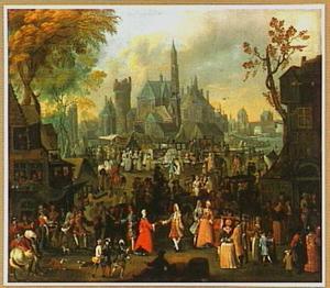 Marktplein met feestvierders