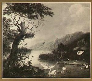 Bergmeer met herten en vogels