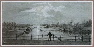 De Amstel gezien vanaf de Hoogesluis met rechts de jachthaven en de houtmolens, te Amsterdam
