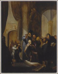 Het berouw van Judas: hij brengt de dertig zilverlingen terug naar de Sanhedrin