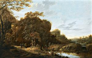 Boslandschap met Philippus die de eunuch doopt