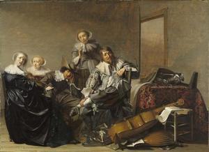 Elegant rokend en musicerend gezelschap in een interieur