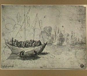 Rivierlandschap met groep figuren in een zeilboot