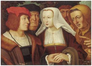 Jong paar, elkaars linkerhand vasthoudend en omringd door drie figuren