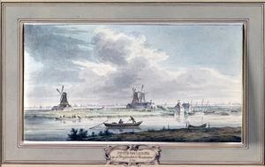 Gezicht vanaf de Zeeburgerdijk over de Nieuwe Vaart op drie houtzaagmolens in de Stadsrietlanden buiten Amsterdam; in het verschiet de dorpen Nieuwendam, Schellingwoude en Ransdorp